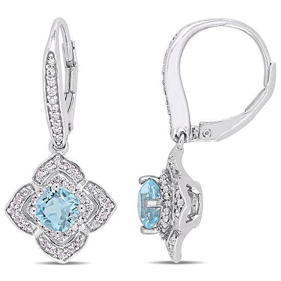 1/4 CT. T.W. Genuine Blue Topaz Sterling Silver Drop Earrings