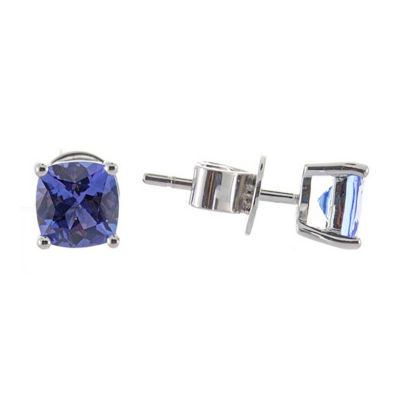 Genuine Blue Tanzanite 14K White Gold 6mm Stud Earrings