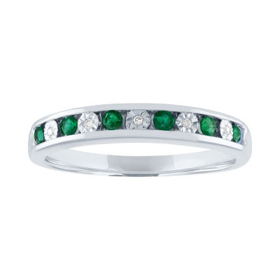 Modern Bride Gemstone Womens Genuine Multi Color Stone 10K White Gold Engagement Ring