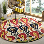 Safavieh Ikat Collection Dennis Geometric Round Area Rug