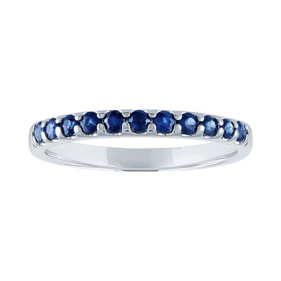 Modern Bride Gemstone Womens Genuine Blue Sapphire 10K White Gold Wedding Stackable Ring
