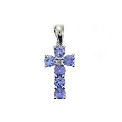 Womens Diamond Accent Genuine Blue Tanzanite 14K White Gold Pendant Necklace