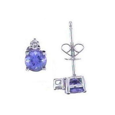 Diamond Accent Genuine Blue Tanzanite 14K White Gold 9mm Stud Earrings