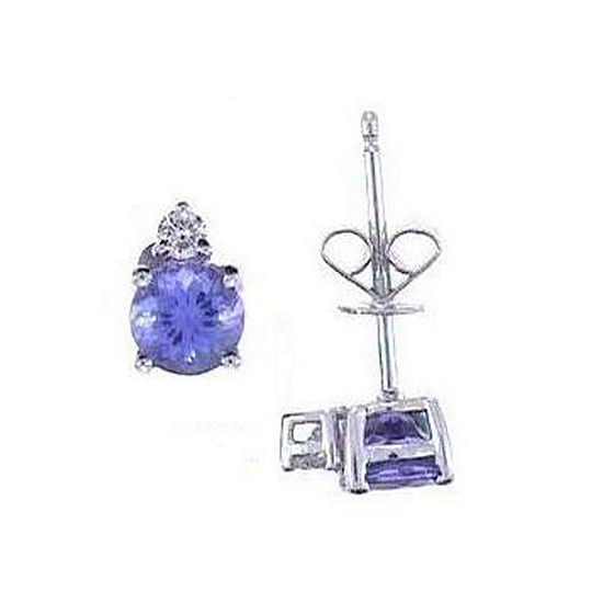 LIMITED QUANTITIES! Diamond Accent Genuine Blue Tanzanite 14K White Gold 9mm Stud Earrings