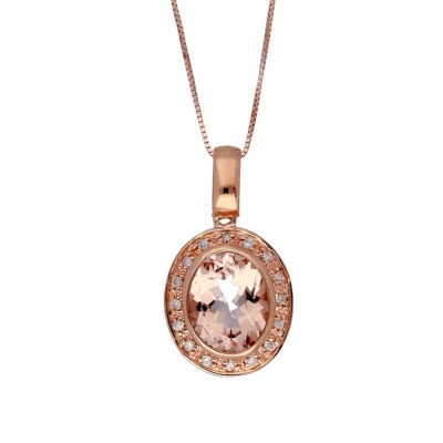 Womens 1/8 CT. T.W. Genuine Pink Morganite 10K Rose Gold Pendant Necklace
