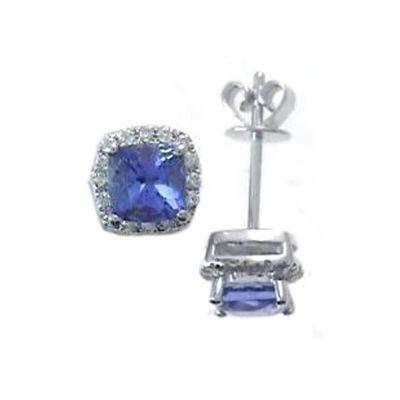 1 1/8 Ct. T.W. Genuine Blue Tanzanite 14K White Gold 7mm Stud Earrings