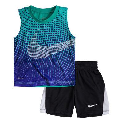 Nike 2-pc.Swoosh Muscle Tee Short Set- Baby Girls