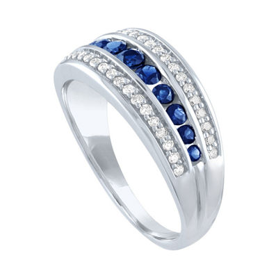 Modern Bride Gemstone Womens 1/5 CT. T.W. Genuine Multi Color Stone 10K White Gold Engagement Ring
