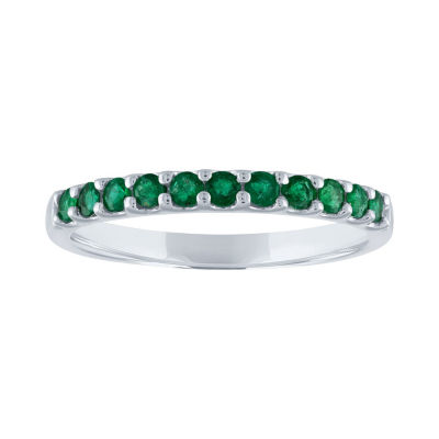 Modern Bride Gemstone Womens Genuine Green Emerald 10K White Gold Wedding Stackable Ring