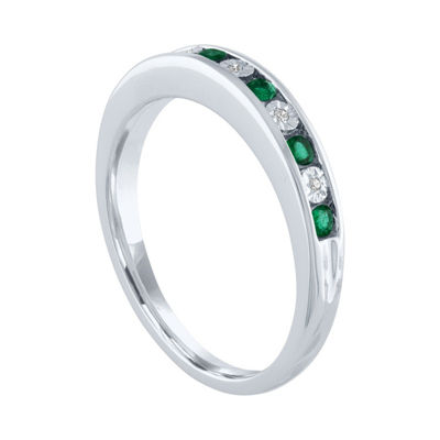 Modern Bride Gemstone Womens Diamond Accent Genuine Green Emerald 10K White Gold Wedding Stackable Ring