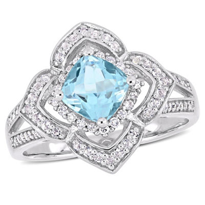 Womens 1/5 CT. T.W. Genuine Blue Topaz Sterling Silver Cocktail Ring