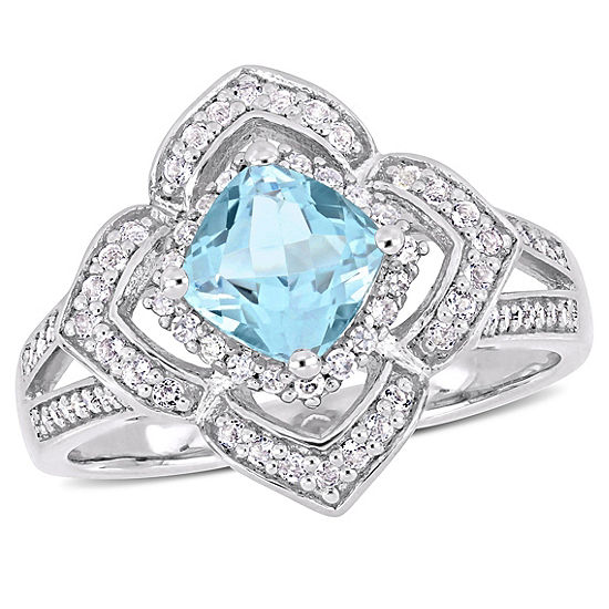 Womens 1 5 Ct Tw Genuine Blue Topaz Sterling Silver Cocktail Ring
