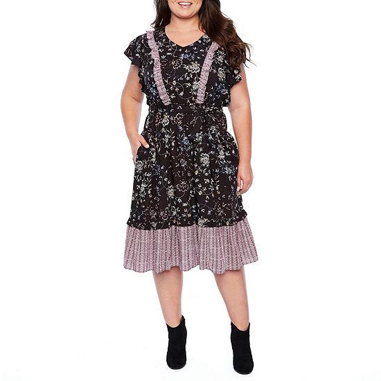 a.n.a Short Sleeve Twin Print Prairie Midi Dress - Plus