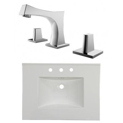 30.75-in. W 3H8-in. Ceramic Top Set In White Color- CUPC Faucet Incl.