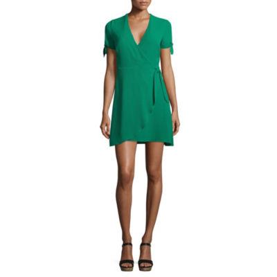 B. Darlin Short Sleeve Wrap Dress-Juniors