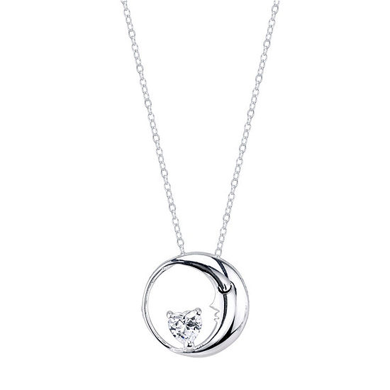 Footnotes Cubic Zirconia Sterling Silver 18 Inch Cable Round Pendant Necklace