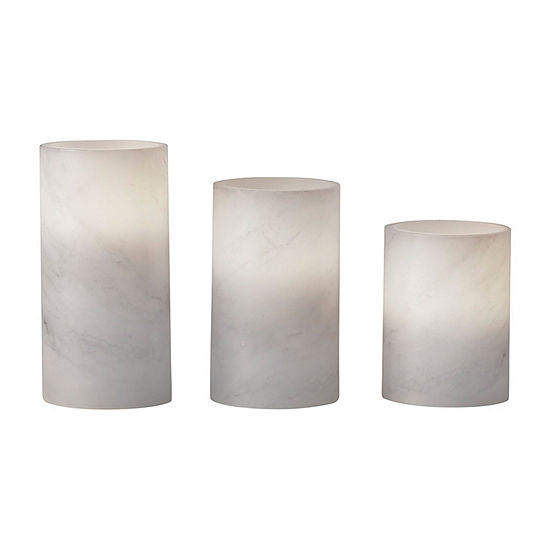 Apothecary Led With Timer 3pc Marble Flameless Candle