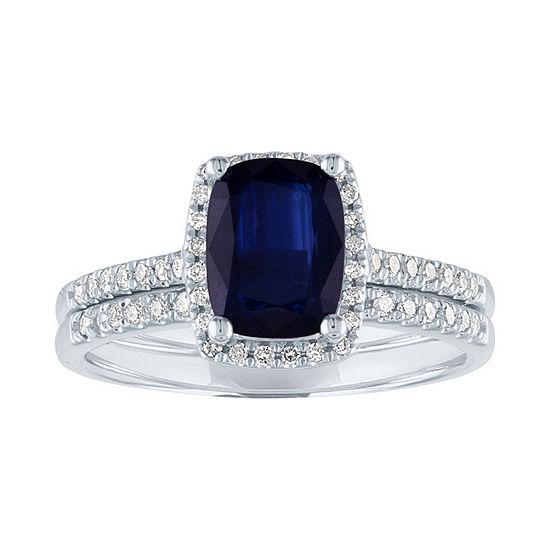 Modern Bride Gemstone Womens 1/4 CT. T.W. Genuine Blue Sapphire 10K White Gold Bridal Set