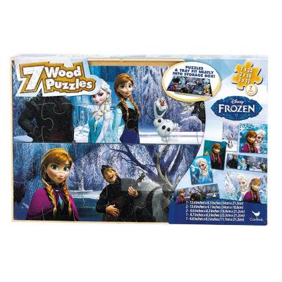 Disney Frozen 7 Wood Jigsaw Puzzles In Wood Storage Box