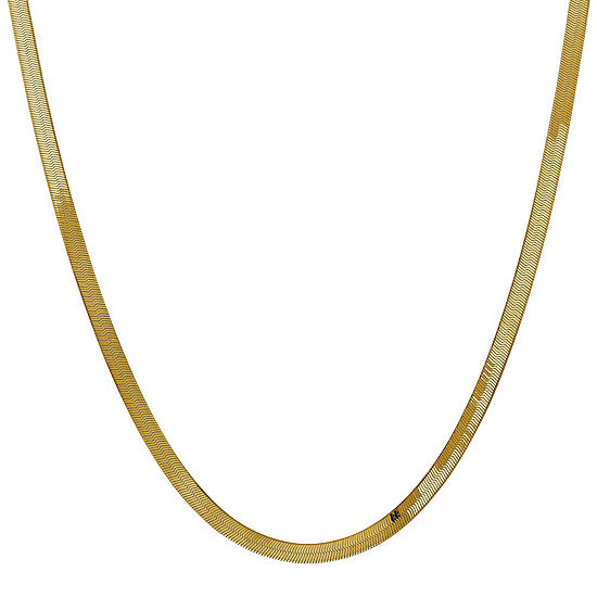 14K Gold Solid Herringbone Chain Necklace