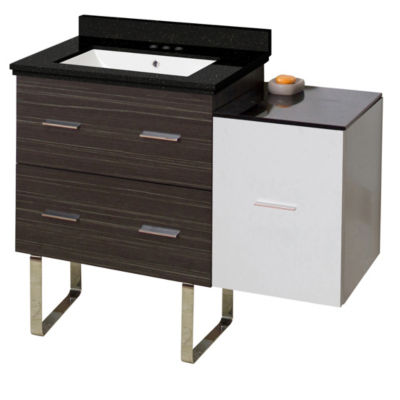 37.75-in. W Floor Mount White-Dawn Grey Vanity SetFor 3H4-in. Drilling Black Galaxy Top White UM Sink