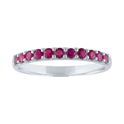 Modern Bride Gemstone Lead Glass-Filled Ruby 10K White Gold Wedding Band