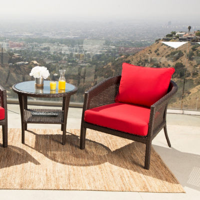 Athens Outdoor Wicker 3 Piece Chair Set