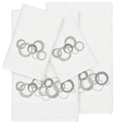 Linum Home Textiles 100% Turkish Cotton Annabelle 4PC Embellished Towel Set