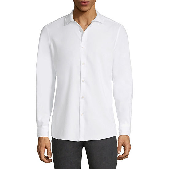 Axist Solid Mens Long Sleeve Button-Down Shirt