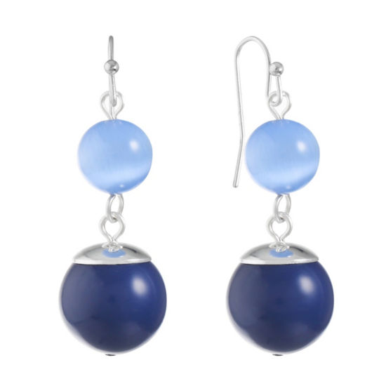 Liz Claiborne Blue Round Drop Earrings