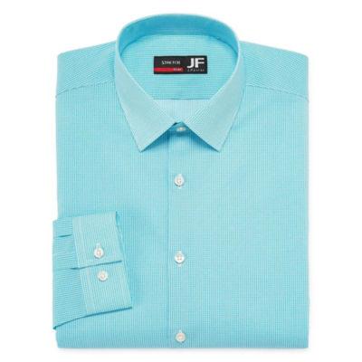 JF J.Ferrar Long Sleeve Broadcloth Dots Dress Shirt - Slim