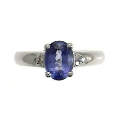 Womens Diamond Accent Blue Tanzanite Sterling Silver Cocktail Ring