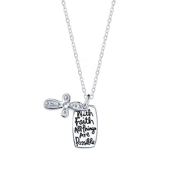 Footnotes Faith Crystal Sterling Silver 18 Inch Cable Cross Pendant Necklace