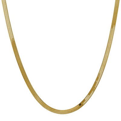 14K Gold 16 Inch Solid Herringbone Chain Necklace