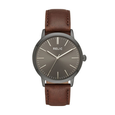 Relic Mens Brown Leather Strap Watch-Zr77300