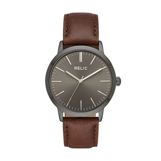 Relic By Fossil Mens Brown Leather Strap Watch-Zr77300