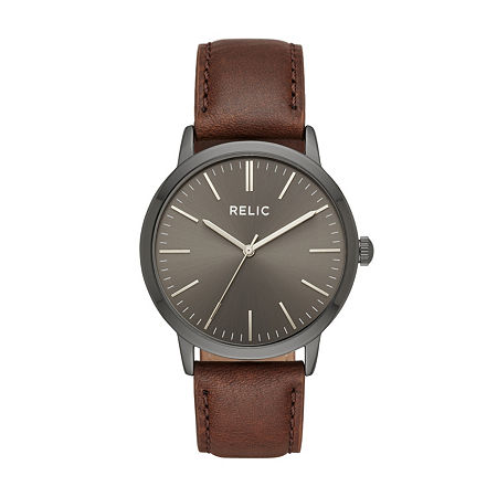 Relic By Fossil Mens Brown Leather Strap Watch-Zr77300, One Size
