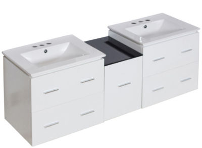 61.5-in. W Wall Mount White Vanity Set For 3H4-in.Drilling