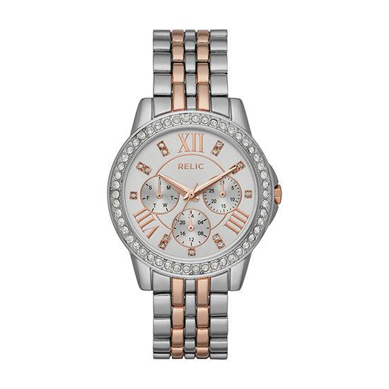 Relic By Fossil Womens Two Tone Bracelet Watch Zr15940