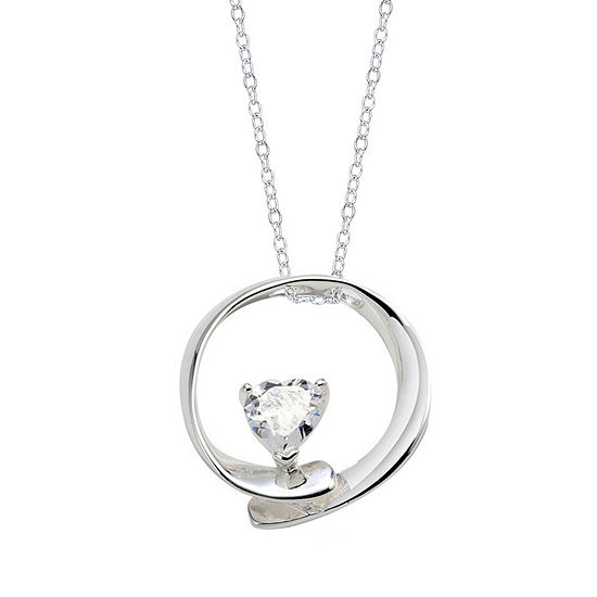 Footnotes Womens Clear Round Pendant Necklace