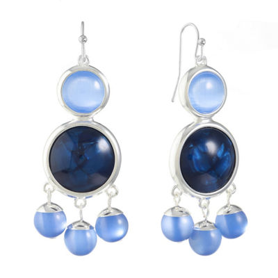 Liz Claiborne Blue Round Chandelier Earrings
