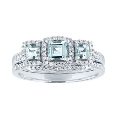 Modern Bride Gemstone Womens 1/5 CT. T.W. Genuine Blue Aquamarine 10K White Gold 3-Stone Bridal Set