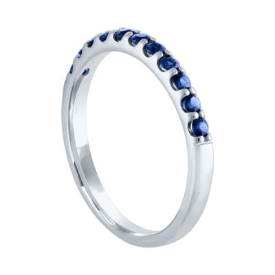 Modern Bride Gemstone Womens Genuine Blue Sapphire 10K White Gold Wedding Stackable Ring