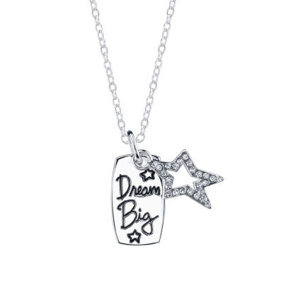 Footnotes Womens Crystal Sterling Silver Star Pendant Necklace