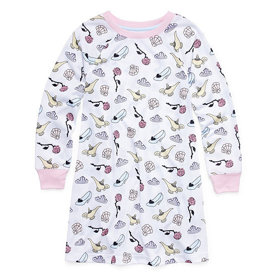 Disney Princess Long Sleeve Round Neck Knit Nightshirt - Girls