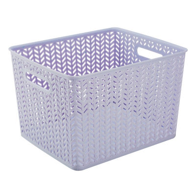 Herringbone Storage Tote-Lilac-Large 13.75X11.5X8.75