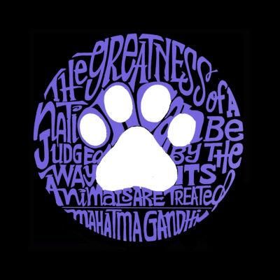 Los Angeles Pop Art Women's Raglan Word Art T-shirt - Gandhi's Quote on Animal Treatment