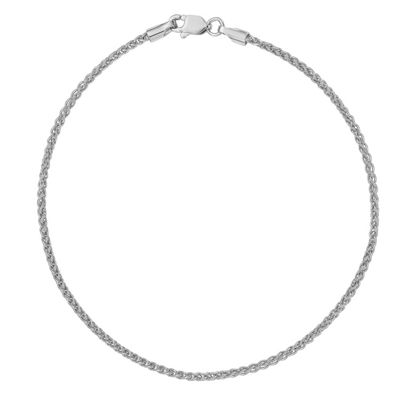 14K White Gold 7 Inch Solid Wheat Chain Bracelet