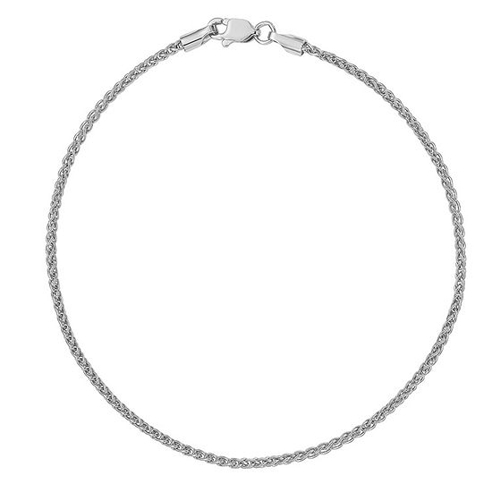 14K White Gold Solid Wheat Chain Bracelet