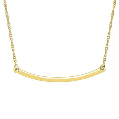 Womens 10K Gold Curved Pendant Necklace